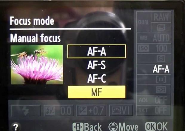 מצלמת-ניקון---פוקוס-ידני-בתפריט