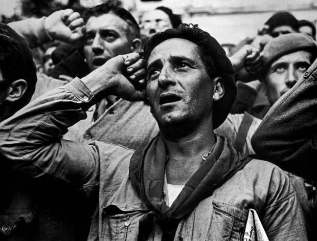 SPAIN.-Montblanch,-near-Barcelona.-October-25th,-1938.-Bidding-farewell-to-the-International-Brigades,