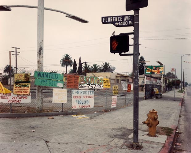 The-Northwest-Corner-of-Florence-and-Normandie-Avenues,-Los-Angeles,-CA,-October-1993